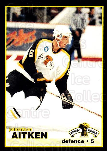 1996-97 Brandon Wheat Kings #18 Johnathan Aitken<br/>3 In Stock - $3.00 each - <a href=https://centericecollectibles.foxycart.com/cart?name=1996-97%20Brandon%20Wheat%20Kings%20%2318%20Johnathan%20Aitke...&quantity_max=3&price=$3.00&code=479921 class=foxycart> Buy it now! </a>