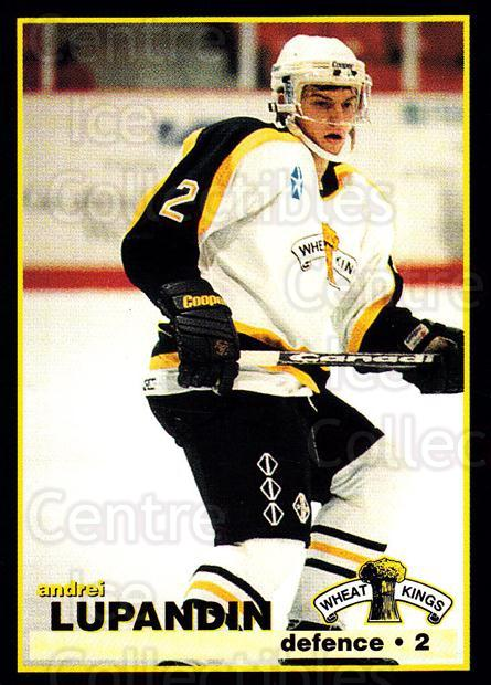 1996-97 Brandon Wheat Kings #15 Andrei Lupandin<br/>3 In Stock - $3.00 each - <a href=https://centericecollectibles.foxycart.com/cart?name=1996-97%20Brandon%20Wheat%20Kings%20%2315%20Andrei%20Lupandin...&quantity_max=3&price=$3.00&code=479924 class=foxycart> Buy it now! </a>
