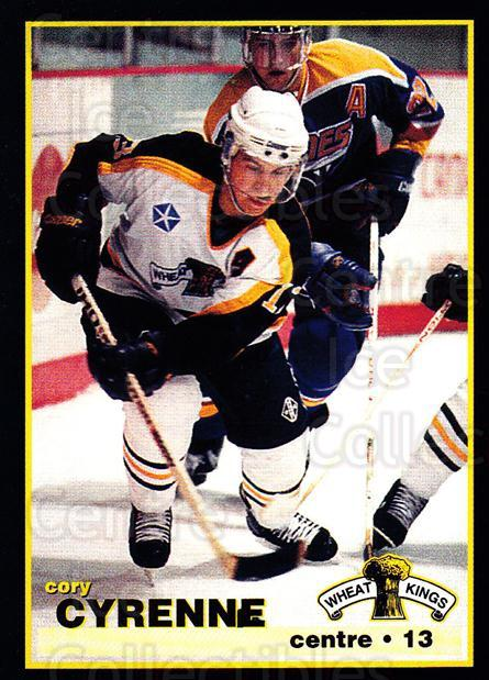 1996-97 Brandon Wheat Kings #9 Cory Cyrenne<br/>2 In Stock - $3.00 each - <a href=https://centericecollectibles.foxycart.com/cart?name=1996-97%20Brandon%20Wheat%20Kings%20%239%20Cory%20Cyrenne...&quantity_max=2&price=$3.00&code=479930 class=foxycart> Buy it now! </a>