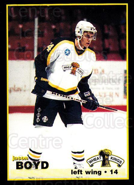 1996-97 Brandon Wheat Kings #8 Jason Boyd<br/>3 In Stock - $3.00 each - <a href=https://centericecollectibles.foxycart.com/cart?name=1996-97%20Brandon%20Wheat%20Kings%20%238%20Jason%20Boyd...&quantity_max=3&price=$3.00&code=479931 class=foxycart> Buy it now! </a>