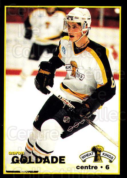 1996-97 Brandon Wheat Kings #5 Aaron Goldade<br/>3 In Stock - $3.00 each - <a href=https://centericecollectibles.foxycart.com/cart?name=1996-97%20Brandon%20Wheat%20Kings%20%235%20Aaron%20Goldade...&quantity_max=3&price=$3.00&code=479934 class=foxycart> Buy it now! </a>
