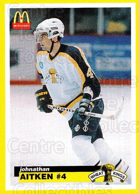 1997-98 Brandon Wheat Kings #1 Johnathan Aitken<br/>2 In Stock - $3.00 each - <a href=https://centericecollectibles.foxycart.com/cart?name=1997-98%20Brandon%20Wheat%20Kings%20%231%20Johnathan%20Aitke...&quantity_max=2&price=$3.00&code=479938 class=foxycart> Buy it now! </a>