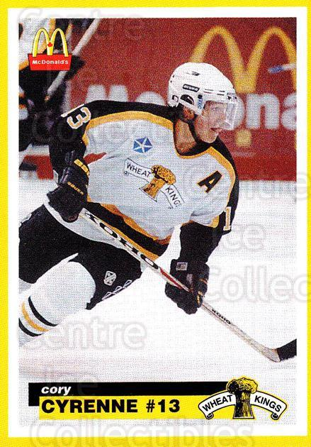 1997-98 Brandon Wheat Kings #4 Cory Cyrenne<br/>1 In Stock - $3.00 each - <a href=https://centericecollectibles.foxycart.com/cart?name=1997-98%20Brandon%20Wheat%20Kings%20%234%20Cory%20Cyrenne...&quantity_max=1&price=$3.00&code=479941 class=foxycart> Buy it now! </a>