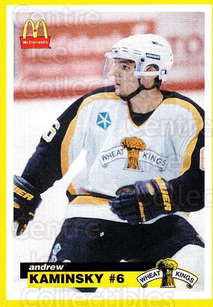 1997-98 Brandon Wheat Kings #10 Andrew Kaminsky<br/>1 In Stock - $3.00 each - <a href=https://centericecollectibles.foxycart.com/cart?name=1997-98%20Brandon%20Wheat%20Kings%20%2310%20Andrew%20Kaminsky...&quantity_max=1&price=$3.00&code=479947 class=foxycart> Buy it now! </a>