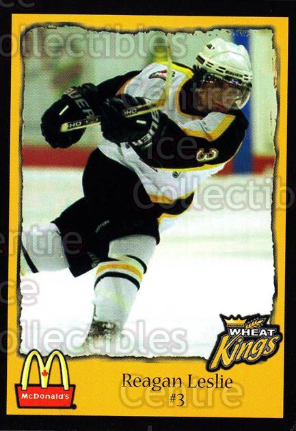 2002-03 Brandon Wheat Kings #10 Reagan Leslie<br/>3 In Stock - $3.00 each - <a href=https://centericecollectibles.foxycart.com/cart?name=2002-03%20Brandon%20Wheat%20Kings%20%2310%20Reagan%20Leslie...&quantity_max=3&price=$3.00&code=480067 class=foxycart> Buy it now! </a>