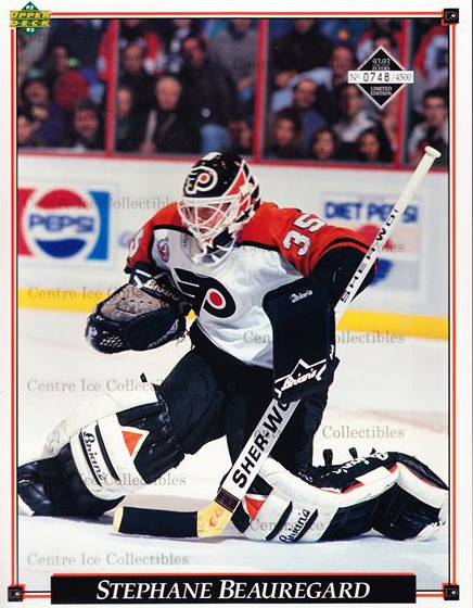 1992-93 Philadelphia Flyers Line-Up Cards #3 Stephane Beauregard<br/>2 In Stock - $10.00 each - <a href=https://centericecollectibles.foxycart.com/cart?name=1992-93%20Philadelphia%20Flyers%20Line-Up%20Cards%20%233%20Stephane%20Beaure...&quantity_max=2&price=$10.00&code=480559 class=foxycart> Buy it now! </a>