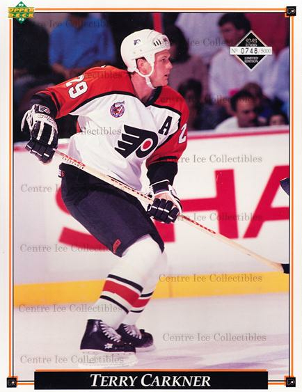 1992-93 Philadelphia Flyers Line-Up Cards #12 Terry Carkner<br/>4 In Stock - $10.00 each - <a href=https://centericecollectibles.foxycart.com/cart?name=1992-93%20Philadelphia%20Flyers%20Line-Up%20Cards%20%2312%20Terry%20Carkner...&quantity_max=4&price=$10.00&code=480568 class=foxycart> Buy it now! </a>