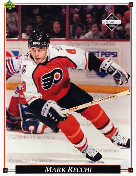 1992-93 Philadelphia Flyers Line-Up Cards #30 Mark Recchi<br/>4 In Stock - $10.00 each - <a href=https://centericecollectibles.foxycart.com/cart?name=1992-93%20Philadelphia%20Flyers%20Line-Up%20Cards%20%2330%20Mark%20Recchi...&quantity_max=4&price=$10.00&code=480587 class=foxycart> Buy it now! </a>