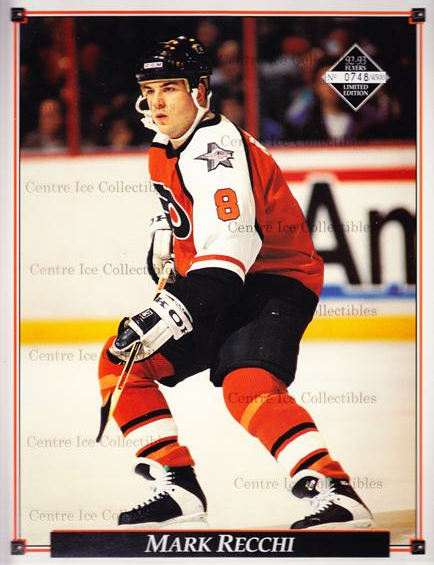 1992-93 Philadelphia Flyers Line-Up Cards #31 Mark Recchi<br/>3 In Stock - $10.00 each - <a href=https://centericecollectibles.foxycart.com/cart?name=1992-93%20Philadelphia%20Flyers%20Line-Up%20Cards%20%2331%20Mark%20Recchi...&quantity_max=3&price=$10.00&code=480588 class=foxycart> Buy it now! </a>