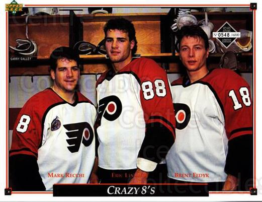 1992-93 Philadelphia Flyers Line-Up Cards #40 Mark Recchi, Eric Lindros, Brent Fedyk<br/>1 In Stock - $10.00 each - <a href=https://centericecollectibles.foxycart.com/cart?name=1992-93%20Philadelphia%20Flyers%20Line-Up%20Cards%20%2340%20Mark%20Recchi,%20Er...&price=$10.00&code=480596 class=foxycart> Buy it now! </a>