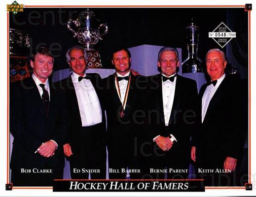 1992-93 Philadelphia Flyers Line-Up Cards #43 Bob Clarke, Ed Snider, Bill Barber, Bernie Parent, Keith Allen<br/>3 In Stock - $10.00 each - <a href=https://centericecollectibles.foxycart.com/cart?name=1992-93%20Philadelphia%20Flyers%20Line-Up%20Cards%20%2343%20Bob%20Clarke,%20Ed%20...&quantity_max=3&price=$10.00&code=480599 class=foxycart> Buy it now! </a>