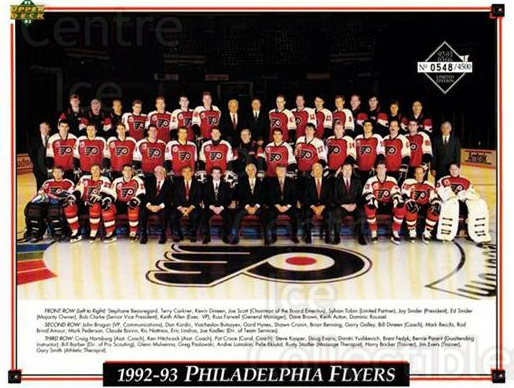 1992-93 Philadelphia Flyers Line-Up Cards #44 Philadelphia Flyers, Team Photo<br/>3 In Stock - $10.00 each - <a href=https://centericecollectibles.foxycart.com/cart?name=1992-93%20Philadelphia%20Flyers%20Line-Up%20Cards%20%2344%20Philadelphia%20Fl...&price=$10.00&code=480600 class=foxycart> Buy it now! </a>