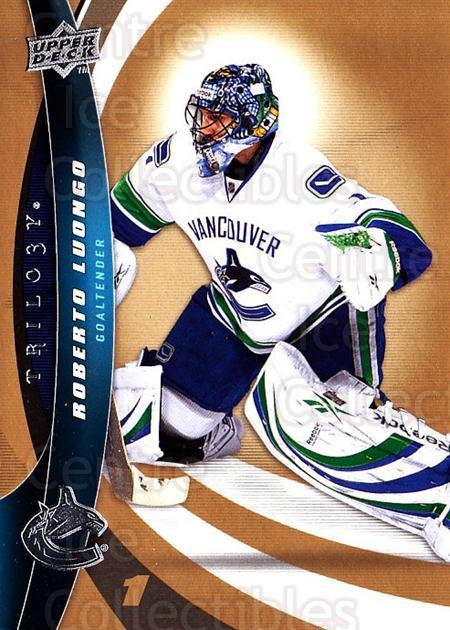 2009-10 UD Trilogy #1 Roberto Luongo<br/>2 In Stock - $1.00 each - <a href=https://centericecollectibles.foxycart.com/cart?name=2009-10%20UD%20Trilogy%20%231%20Roberto%20Luongo...&quantity_max=2&price=$1.00&code=480926 class=foxycart> Buy it now! </a>