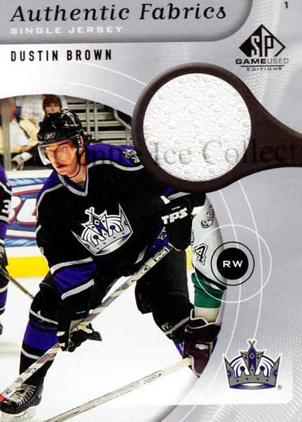 2005-06 Sp Game Used Authentic Fabrics #AFDB Dustin Brown<br/>1 In Stock - $5.00 each - <a href=https://centericecollectibles.foxycart.com/cart?name=2005-06%20Sp%20Game%20Used%20Authentic%20Fabrics%20%23AFDB%20Dustin%20Brown...&quantity_max=1&price=$5.00&code=481565 class=foxycart> Buy it now! </a>