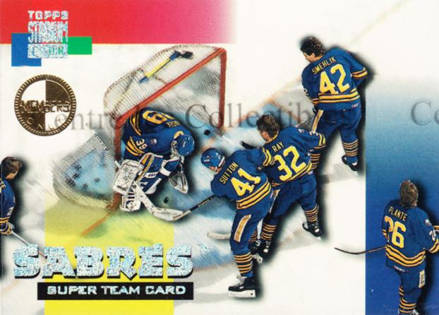 1994-95 Stadium Club Super Teams Members Only #3 Dominik Hasek, Rob Ray, Derek Plante, Richard Smehlik, Ken Sutton<br/>2 In Stock - $5.00 each - <a href=https://centericecollectibles.foxycart.com/cart?name=1994-95%20Stadium%20Club%20Super%20Teams%20Members%20Only%20%233%20Dominik%20Hasek,%20...&quantity_max=2&price=$5.00&code=481708 class=foxycart> Buy it now! </a>