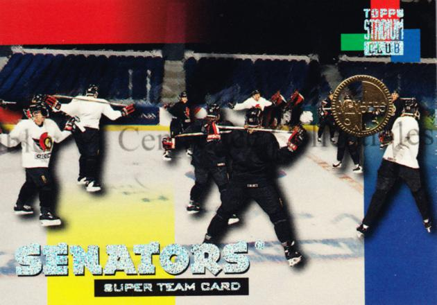 1994-95 Stadium Club Super Teams Members Only #16 Ottawa Senators<br/>4 In Stock - $5.00 each - <a href=https://centericecollectibles.foxycart.com/cart?name=1994-95%20Stadium%20Club%20Super%20Teams%20Members%20Only%20%2316%20Ottawa%20Senators...&quantity_max=4&price=$5.00&code=481726 class=foxycart> Buy it now! </a>