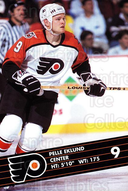 1991-92 Philadelphia Flyers Postcards JC Penny #8 Pelle Eklund<br/>2 In Stock - $3.00 each - <a href=https://centericecollectibles.foxycart.com/cart?name=1991-92%20Philadelphia%20Flyers%20Postcards%20JC%20Penny%20%238%20Pelle%20Eklund...&quantity_max=2&price=$3.00&code=481757 class=foxycart> Buy it now! </a>