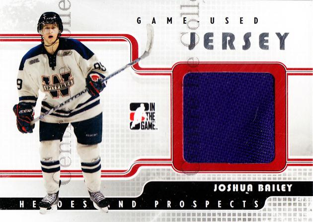 2008-09 ITG Heroes and Prospects Jersey Silver #11 Joshua Bailey<br/>2 In Stock - $5.00 each - <a href=https://centericecollectibles.foxycart.com/cart?name=2008-09%20ITG%20Heroes%20and%20Prospects%20Jersey%20Silver%20%2311%20Joshua%20Bailey...&quantity_max=2&price=$5.00&code=483331 class=foxycart> Buy it now! </a>