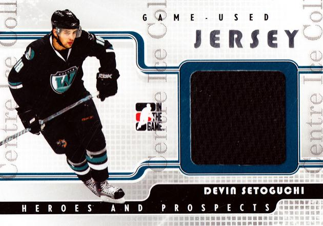 2008-09 ITG Heroes and Prospects Jersey Silver #34 Devin Setoguchi<br/>1 In Stock - $5.00 each - <a href=https://centericecollectibles.foxycart.com/cart?name=2008-09%20ITG%20Heroes%20and%20Prospects%20Jersey%20Silver%20%2334%20Devin%20Setoguchi...&quantity_max=1&price=$5.00&code=483354 class=foxycart> Buy it now! </a>