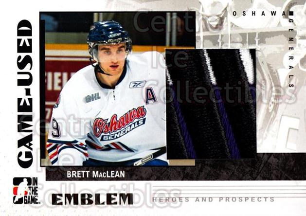 2007-08 ITG Heroes and Prospects Emblem #67 Brett MacLean<br/>1 In Stock - $10.00 each - <a href=https://centericecollectibles.foxycart.com/cart?name=2007-08%20ITG%20Heroes%20and%20Prospects%20Emblem%20%2367%20Brett%20MacLean...&quantity_max=1&price=$10.00&code=483546 class=foxycart> Buy it now! </a>