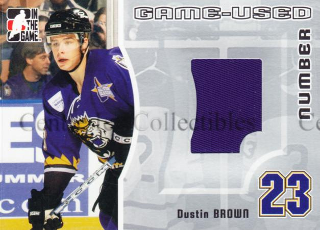 2005-06 ITG Heroes and Prospects Number Silver #17 Dustin Brown<br/>1 In Stock - $10.00 each - <a href=https://centericecollectibles.foxycart.com/cart?name=2005-06%20ITG%20Heroes%20and%20Prospects%20Number%20Silver%20%2317%20Dustin%20Brown...&quantity_max=1&price=$10.00&code=483795 class=foxycart> Buy it now! </a>