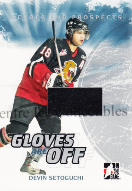 2007-08 ITG Heroes and Prospects Gloves Are Off #13 Devin Setoguchi<br/>2 In Stock - $5.00 each - <a href=https://centericecollectibles.foxycart.com/cart?name=2007-08%20ITG%20Heroes%20and%20Prospects%20Gloves%20Are%20Off%20%2313%20Devin%20Setoguchi...&quantity_max=2&price=$5.00&code=485095 class=foxycart> Buy it now! </a>