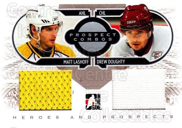 2008-09 ITG Heroes and Prospects Prospects Combos Silver #3 Matt Lashoff, Drew Doughty<br/>1 In Stock - $10.00 each - <a href=https://centericecollectibles.foxycart.com/cart?name=2008-09%20ITG%20Heroes%20and%20Prospects%20Prospects%20Combos%20Silver%20%233%20Matt%20Lashoff,%20D...&price=$10.00&code=485126 class=foxycart> Buy it now! </a>