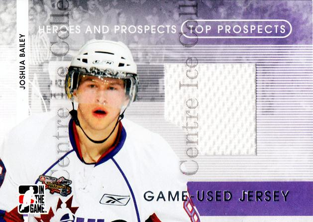 2008-09 ITG Heroes and Prospects Top Prospects Jersey Silver #14 Joshua Bailey<br/>1 In Stock - $5.00 each - <a href=https://centericecollectibles.foxycart.com/cart?name=2008-09%20ITG%20Heroes%20and%20Prospects%20Top%20Prospects%20Jersey%20Silver%20%2314%20Joshua%20Bailey...&quantity_max=1&price=$5.00&code=485196 class=foxycart> Buy it now! </a>
