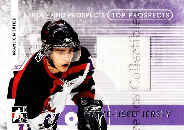 2008-09 ITG Heroes and Prospects Top Prospects Jersey Silver #9 Brandon Sutter<br/>1 In Stock - $5.00 each - <a href=https://centericecollectibles.foxycart.com/cart?name=2008-09%20ITG%20Heroes%20and%20Prospects%20Top%20Prospects%20Jersey%20Silver%20%239%20Brandon%20Sutter...&price=$5.00&code=485205 class=foxycart> Buy it now! </a>