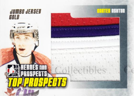 2009-10 ITG Heroes and Prospects Top Prospects Jersey Gold #4 Carter Ashton<br/>1 In Stock - $15.00 each - <a href=https://centericecollectibles.foxycart.com/cart?name=2009-10%20ITG%20Heroes%20and%20Prospects%20Top%20Prospects%20Jersey%20Gold%20%234%20Carter%20Ashton...&quantity_max=1&price=$15.00&code=485594 class=foxycart> Buy it now! </a>