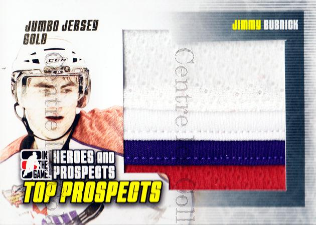 2009-10 ITG Heroes and Prospects Top Prospects Jersey Gold #16 Jimmy Bubnick<br/>2 In Stock - $15.00 each - <a href=https://centericecollectibles.foxycart.com/cart?name=2009-10%20ITG%20Heroes%20and%20Prospects%20Top%20Prospects%20Jersey%20Gold%20%2316%20Jimmy%20Bubnick...&quantity_max=2&price=$15.00&code=485606 class=foxycart> Buy it now! </a>