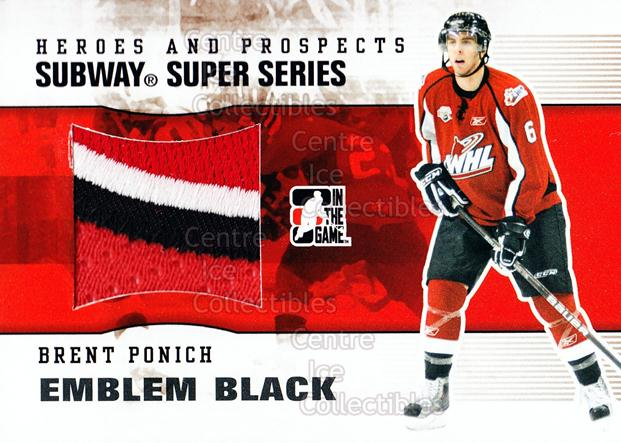 2009-10 ITG Heroes and Prospects Subway Emblem Black #33 Brett Ponich<br/>1 In Stock - $20.00 each - <a href=https://centericecollectibles.foxycart.com/cart?name=2009-10%20ITG%20Heroes%20and%20Prospects%20Subway%20Emblem%20Black%20%2333%20Brett%20Ponich...&quantity_max=1&price=$20.00&code=485659 class=foxycart> Buy it now! </a>