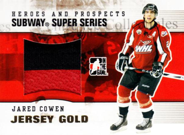 2009-10 ITG Heroes and Prospects Subway Jersey Gold #30 Jared Cowen<br/>2 In Stock - $20.00 each - <a href=https://centericecollectibles.foxycart.com/cart?name=2009-10%20ITG%20Heroes%20and%20Prospects%20Subway%20Jersey%20Gold%20%2330%20Jared%20Cowen...&quantity_max=2&price=$20.00&code=485692 class=foxycart> Buy it now! </a>