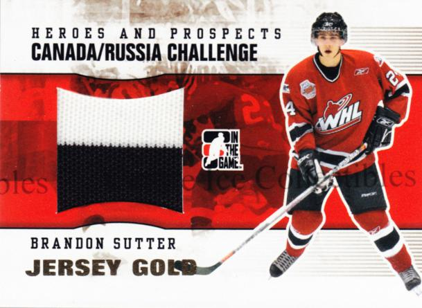 2009-10 ITG Heroes and Prospects Subway Jersey Gold #36 Brandon Sutter<br/>1 In Stock - $20.00 each - <a href=https://centericecollectibles.foxycart.com/cart?name=2009-10%20ITG%20Heroes%20and%20Prospects%20Subway%20Jersey%20Gold%20%2336%20Brandon%20Sutter...&price=$20.00&code=485698 class=foxycart> Buy it now! </a>