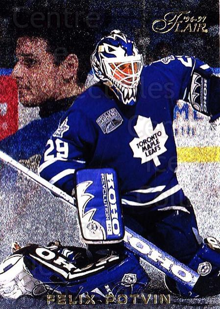 1996-97 Flair #91 Felix Potvin<br/>4 In Stock - $1.00 each - <a href=https://centericecollectibles.foxycart.com/cart?name=1996-97%20Flair%20%2391%20Felix%20Potvin...&quantity_max=4&price=$1.00&code=48647 class=foxycart> Buy it now! </a>