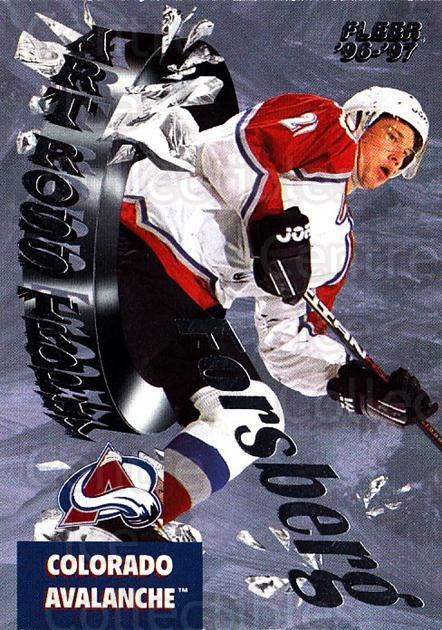 1996-97 Fleer Art Ross #4 Peter Forsberg<br/>1 In Stock - $2.00 each - <a href=https://centericecollectibles.foxycart.com/cart?name=1996-97%20Fleer%20Art%20Ross%20%234%20Peter%20Forsberg...&quantity_max=1&price=$2.00&code=486558 class=foxycart> Buy it now! </a>