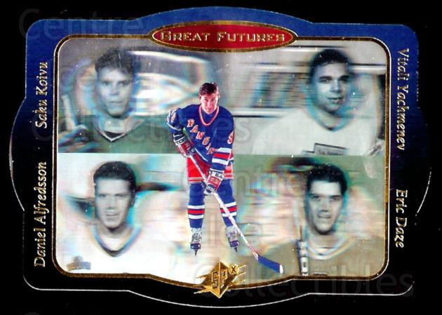 1996-97 Spx Great Futures #1 Wayne Gretzky, Daniel Alfredsson, Saku Koivu, Eric Daze, Vitali Yachmenev<br/>8 In Stock - $5.00 each - <a href=https://centericecollectibles.foxycart.com/cart?name=1996-97%20Spx%20Great%20Futures%20%231%20Wayne%20Gretzky,%20...&quantity_max=8&price=$5.00&code=486664 class=foxycart> Buy it now! </a>
