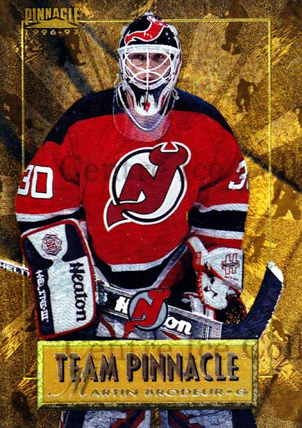 1996-97 Pinnacle Team Pinnacle #9 Martin Brodeur, Chris Osgood<br/>1 In Stock - $10.00 each - <a href=https://centericecollectibles.foxycart.com/cart?name=1996-97%20Pinnacle%20Team%20Pinnacle%20%239%20Martin%20Brodeur,...&price=$10.00&code=486929 class=foxycart> Buy it now! </a>