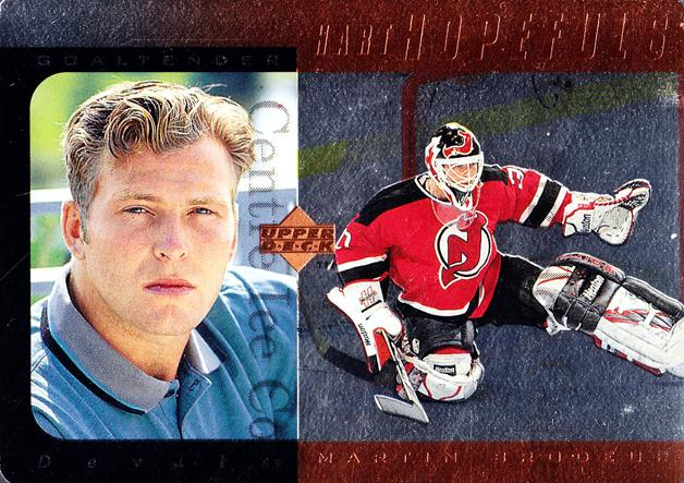 1996-97 Upper Deck Hart Hopefuls Bronze #10 Martin Brodeur<br/>4 In Stock - $5.00 each - <a href=https://centericecollectibles.foxycart.com/cart?name=1996-97%20Upper%20Deck%20Hart%20Hopefuls%20Bronze%20%2310%20Martin%20Brodeur...&price=$5.00&code=486940 class=foxycart> Buy it now! </a>