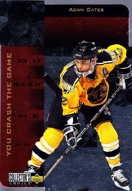 1996-97 Collectors Choice Crash the Game Gold Exchange #21 Adam Oates<br/>1 In Stock - $5.00 each - <a href=https://centericecollectibles.foxycart.com/cart?name=1996-97%20Collectors%20Choice%20Crash%20the%20Game%20Gold%20Exchange%20%2321%20Adam%20Oates...&quantity_max=1&price=$5.00&code=487073 class=foxycart> Buy it now! </a>
