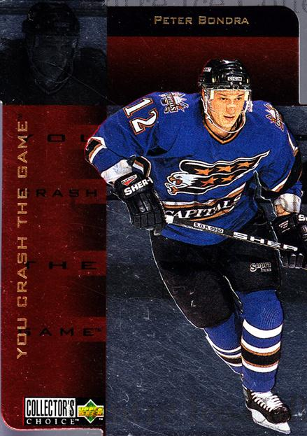 1996-97 Collectors Choice Crash the Game Gold Exchange #4 Peter Bondra<br/>1 In Stock - $5.00 each - <a href=https://centericecollectibles.foxycart.com/cart?name=1996-97%20Collectors%20Choice%20Crash%20the%20Game%20Gold%20Exchange%20%234%20Peter%20Bondra...&quantity_max=1&price=$5.00&code=487078 class=foxycart> Buy it now! </a>