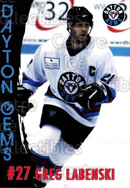 2010-11 Dayton Gems #10 Greg Labenski<br/>3 In Stock - $3.00 each - <a href=https://centericecollectibles.foxycart.com/cart?name=2010-11%20Dayton%20Gems%20%2310%20Greg%20Labenski...&quantity_max=3&price=$3.00&code=487372 class=foxycart> Buy it now! </a>