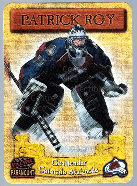 1997-98 Paramount Photoengravings #6 Patrick Roy<br/>1 In Stock - $10.00 each - <a href=https://centericecollectibles.foxycart.com/cart?name=1997-98%20Paramount%20Photoengravings%20%236%20Patrick%20Roy...&quantity_max=1&price=$10.00&code=487885 class=foxycart> Buy it now! </a>