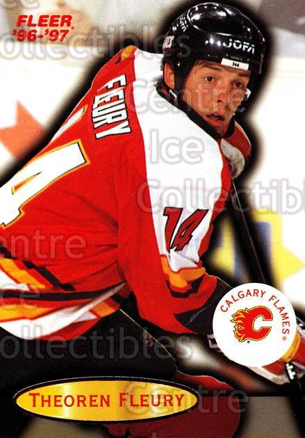 1996-97 Fleer #12 Theo Fleury<br/>6 In Stock - $1.00 each - <a href=https://centericecollectibles.foxycart.com/cart?name=1996-97%20Fleer%20%2312%20Theo%20Fleury...&quantity_max=6&price=$1.00&code=48843 class=foxycart> Buy it now! </a>