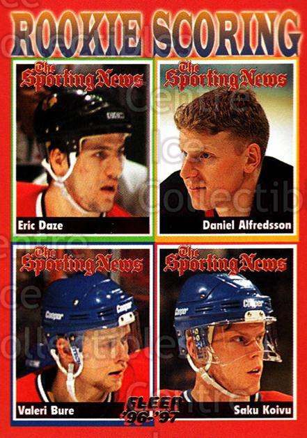 1996-97 Fleer #136 Eric Daze, Daniel Alfredsson, Valeri Bure, Saku Koivu<br/>4 In Stock - $1.00 each - <a href=https://centericecollectibles.foxycart.com/cart?name=1996-97%20Fleer%20%23136%20Eric%20Daze,%20Dani...&quantity_max=4&price=$1.00&code=48860 class=foxycart> Buy it now! </a>