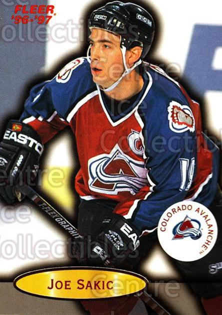 1996-97 Fleer #25 Joe Sakic<br/>6 In Stock - $1.00 each - <a href=https://centericecollectibles.foxycart.com/cart?name=1996-97%20Fleer%20%2325%20Joe%20Sakic...&price=$1.00&code=48883 class=foxycart> Buy it now! </a>