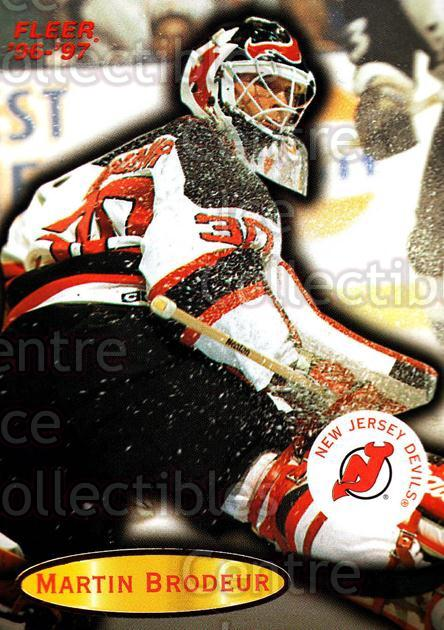 1996-97 Fleer #58 Martin Brodeur<br/>4 In Stock - $2.00 each - <a href=https://centericecollectibles.foxycart.com/cart?name=1996-97%20Fleer%20%2358%20Martin%20Brodeur...&price=$2.00&code=48918 class=foxycart> Buy it now! </a>