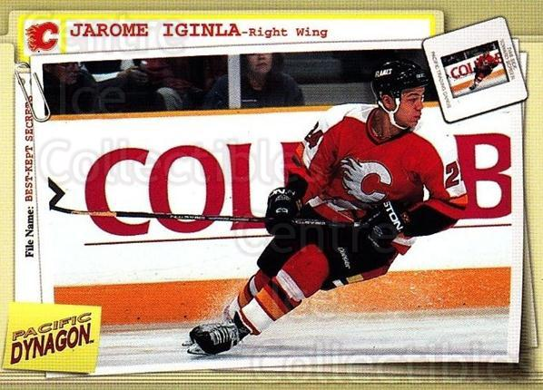 1997-98 Dynagon Best Kept Secrets #13 Jarome Iginla<br/>5 In Stock - $1.00 each - <a href=https://centericecollectibles.foxycart.com/cart?name=1997-98%20Dynagon%20Best%20Kept%20Secrets%20%2313%20Jarome%20Iginla...&quantity_max=5&price=$1.00&code=489477 class=foxycart> Buy it now! </a>