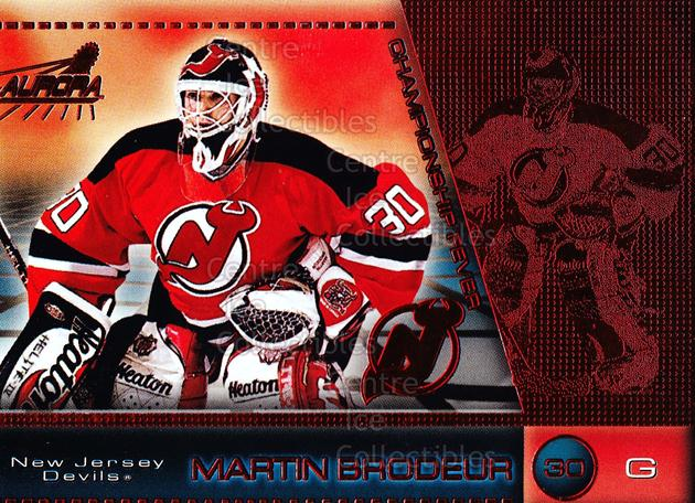 1998-99 Aurora Championship Fever Red #26 Martin Brodeur<br/>2 In Stock - $5.00 each - <a href=https://centericecollectibles.foxycart.com/cart?name=1998-99%20Aurora%20Championship%20Fever%20Red%20%2326%20Martin%20Brodeur...&price=$5.00&code=490181 class=foxycart> Buy it now! </a>