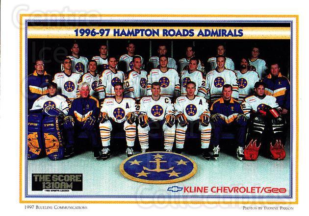 1996-97 Hampton Roads Admirals #25 Hampton Roads Admirals, Team Photo<br/>1 In Stock - $2.00 each - <a href=https://centericecollectibles.foxycart.com/cart?name=1996-97%20Hampton%20Roads%20Admirals%20%2325%20Hampton%20Roads%20A...&price=$2.00&code=49129 class=foxycart> Buy it now! </a>